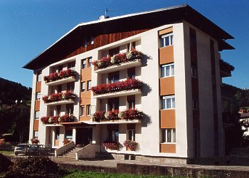 Apartment in Moena. The house is situated 5 minutes on foot from the  village- centre and the ski-bus-stop. It has  private parking for your car and a little garden on the west side.
