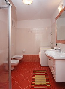 Apartment in Soraga. The bath with washing-machine, central heating on the flat and a pleasant tawels-heater.
