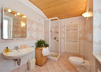 Apartment in Canazei. First Bathroom with Idromassage shower