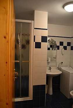 Apartment in Moena. Bathroom with washmachine.